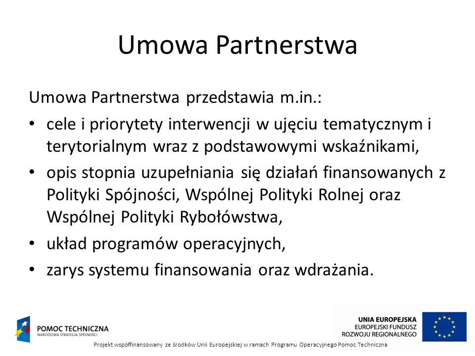 Umowa Partnerstwa Umowa Partnerstwa przedstawia m.in.: