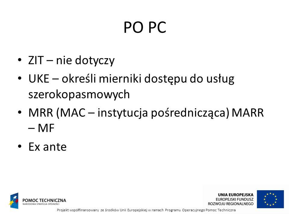 PO PC ZIT – nie dotyczy. UKE – określi mierniki dostępu do usług szerokopasmowych. MRR (MAC – instytucja pośrednicząca) MARR – MF.