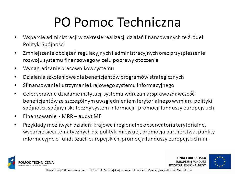 PO Pomoc Techniczna Wsparcie administracji w zakresie realizacji działań finansowanych ze źródeł Polityki Spójności.