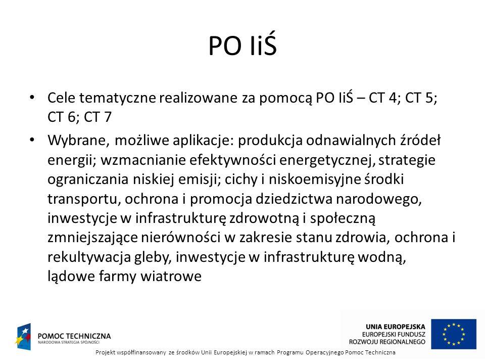 PO IiŚ Cele tematyczne realizowane za pomocą PO IiŚ – CT 4; CT 5; CT 6; CT 7.