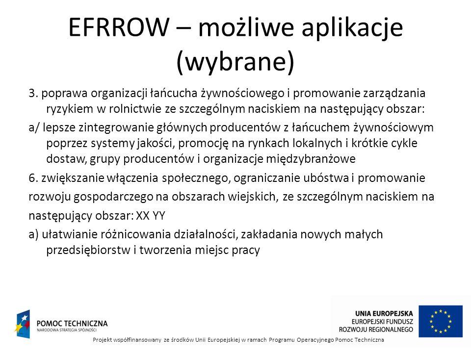 EFRROW – możliwe aplikacje (wybrane)