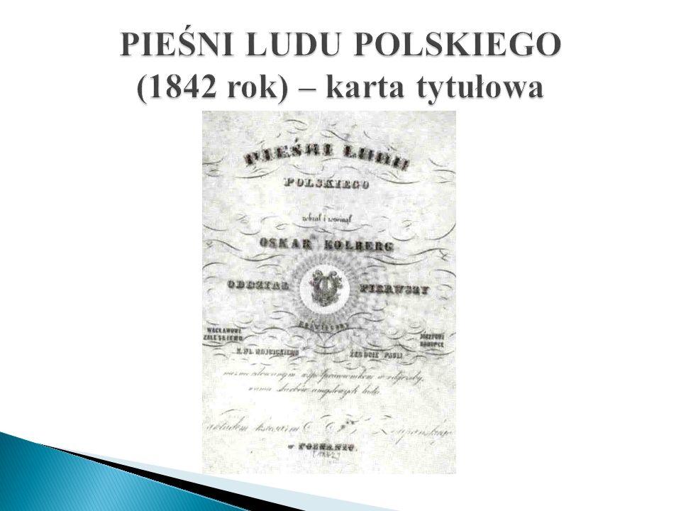 PIEŚNI LUDU POLSKIEGO (1842 rok) – karta tytułowa