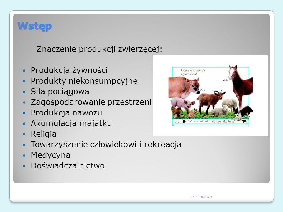 Wstęp Znaczenie produkcji zwierzęcej: Produkcja żywności