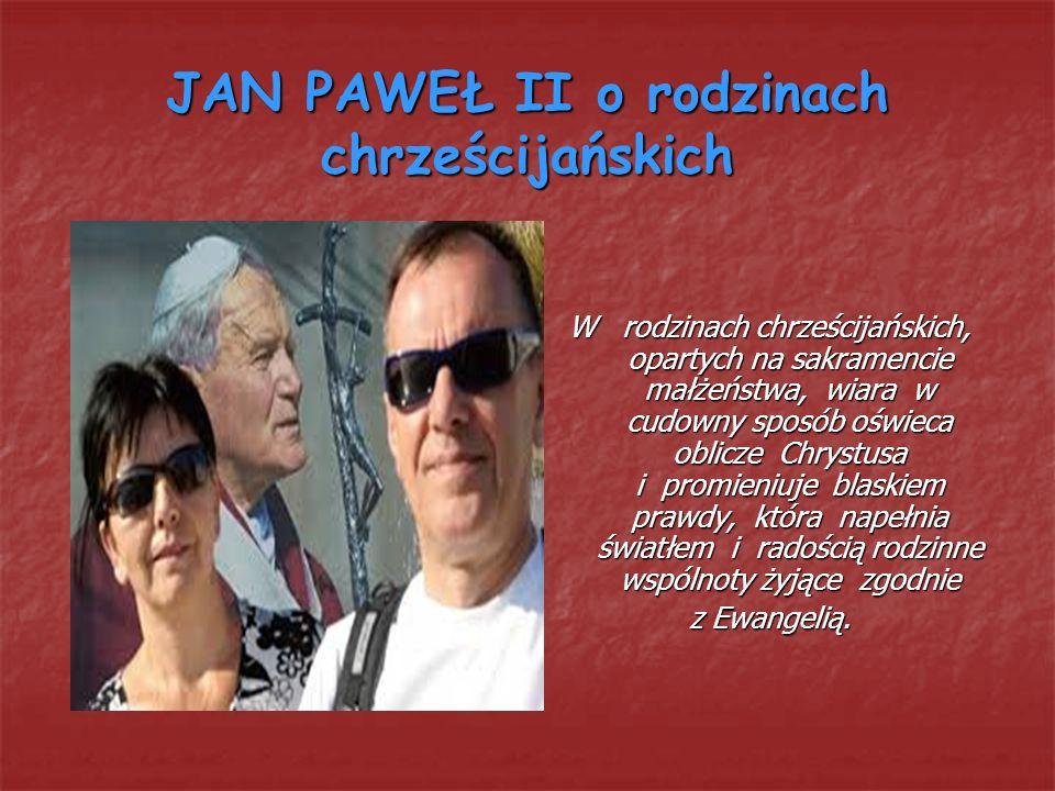 JAN PAWEŁ II o rodzinach chrześcijańskich