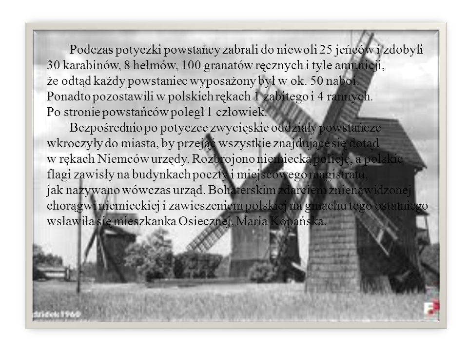 Podczas potyczki powstańcy zabrali do niewoli 25 jeńców i zdobyli 30 karabinów, 8 hełmów, 100 granatów ręcznych i tyle amunicji, że odtąd każdy powstaniec wyposażony był w ok. 50 naboi. Ponadto pozostawili w polskich rękach 1 zabitego i 4 rannych. Po stronie powstańców poległ 1 człowiek.