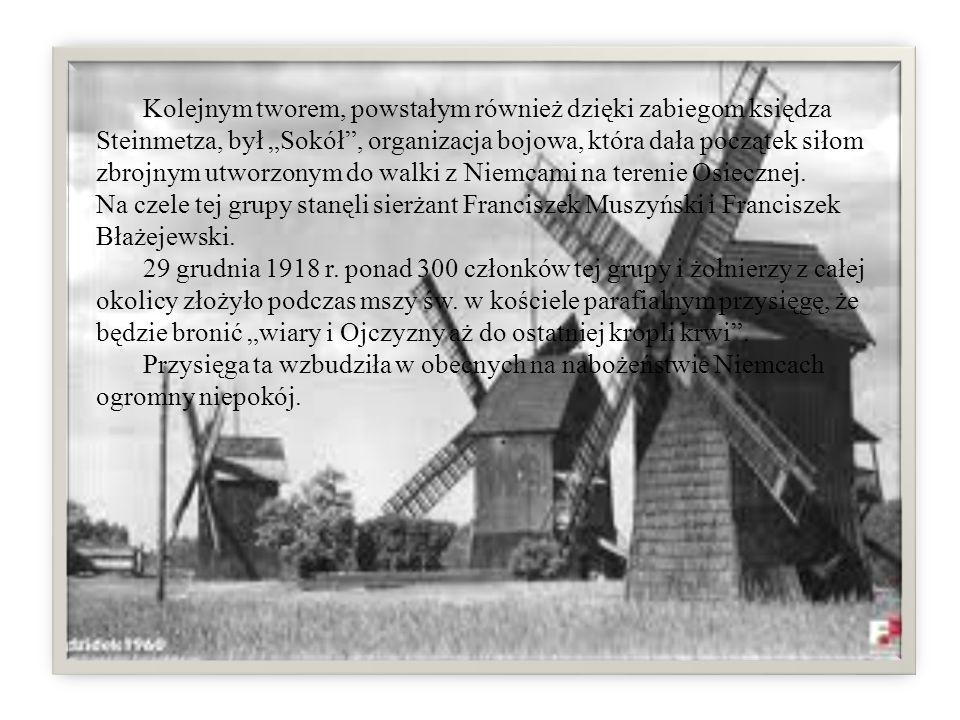 """Kolejnym tworem, powstałym również dzięki zabiegom księdza Steinmetza, był """"Sokół , organizacja bojowa, która dała początek siłom zbrojnym utworzonym do walki z Niemcami na terenie Osiecznej. Na czele tej grupy stanęli sierżant Franciszek Muszyński i Franciszek Błażejewski."""
