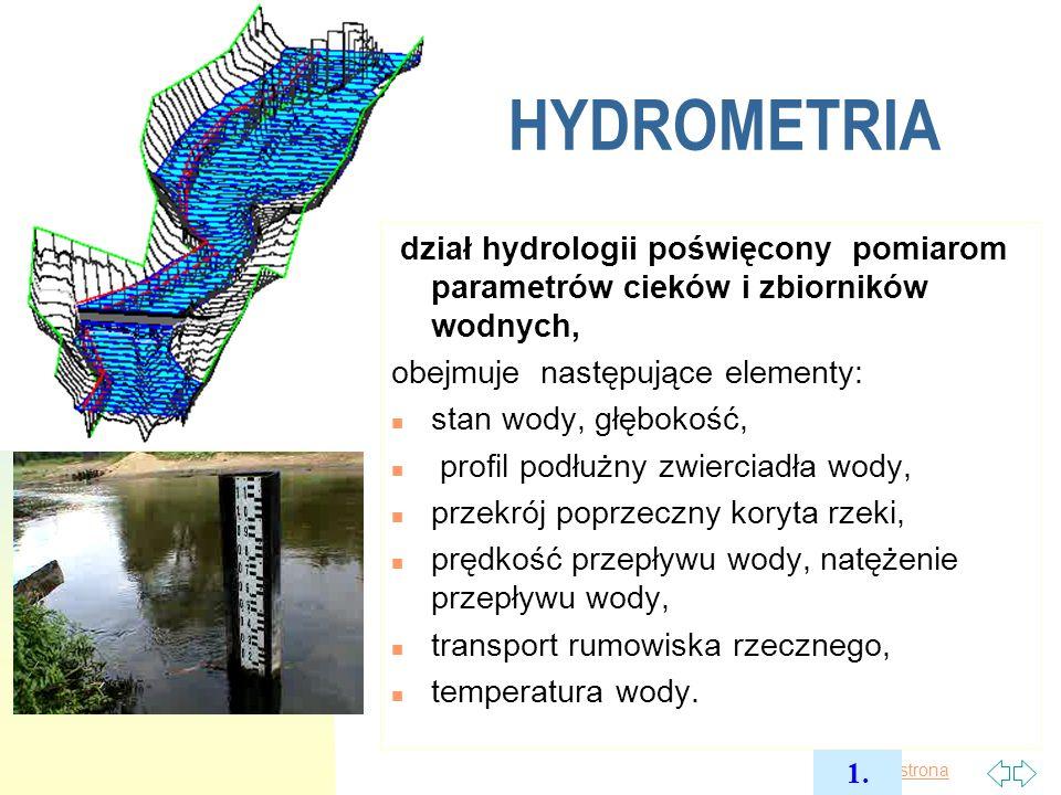 2017-03-30 HYDROMETRIA. dział hydrologii poświęcony pomiarom parametrów cieków i zbiorników wodnych,