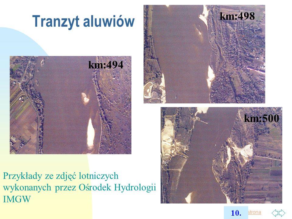 Tranzyt aluwiów km:498 km:494 km:500 Przykłady ze zdjęć lotniczych