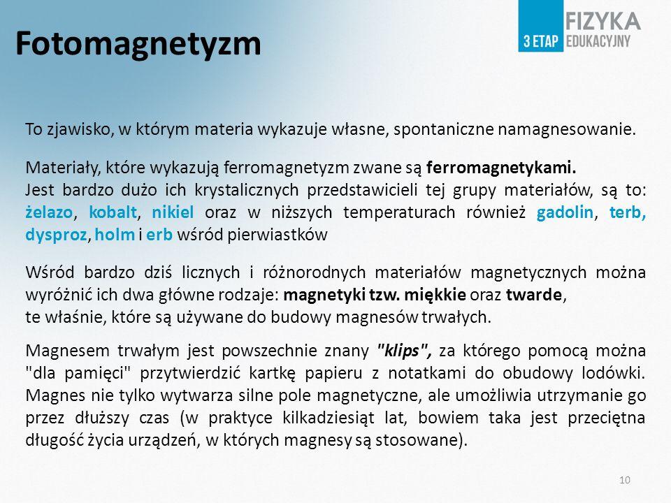 Fotomagnetyzm To zjawisko, w którym materia wykazuje własne, spontaniczne namagnesowanie.