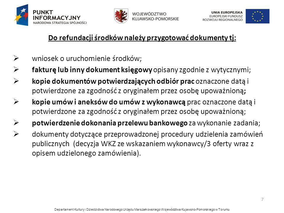 Do refundacji środków należy przygotować dokumenty tj: