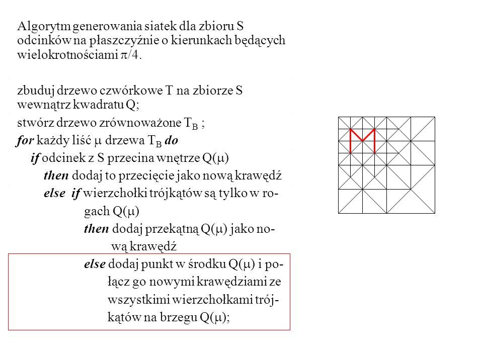 Algorytm generowania siatek dla zbioru S odcinków na płaszczyźnie o kierunkach będących wielokrotnościami /4.