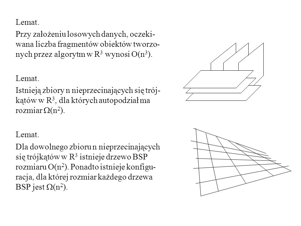 Lemat. Przy założeniu losowych danych, oczeki-wana liczba fragmentów obiektów tworzo-nych przez algorytm w R3 wynosi O(n3).