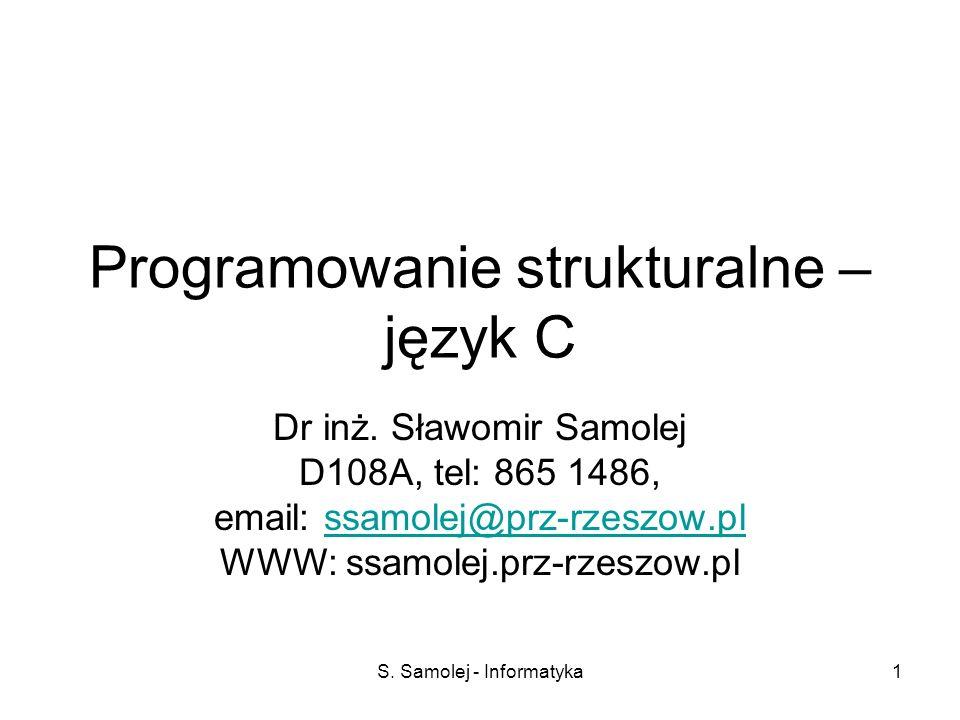 Programowanie strukturalne – język C