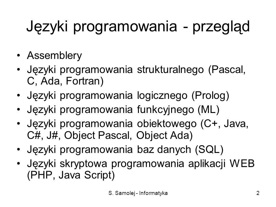 Języki programowania - przegląd