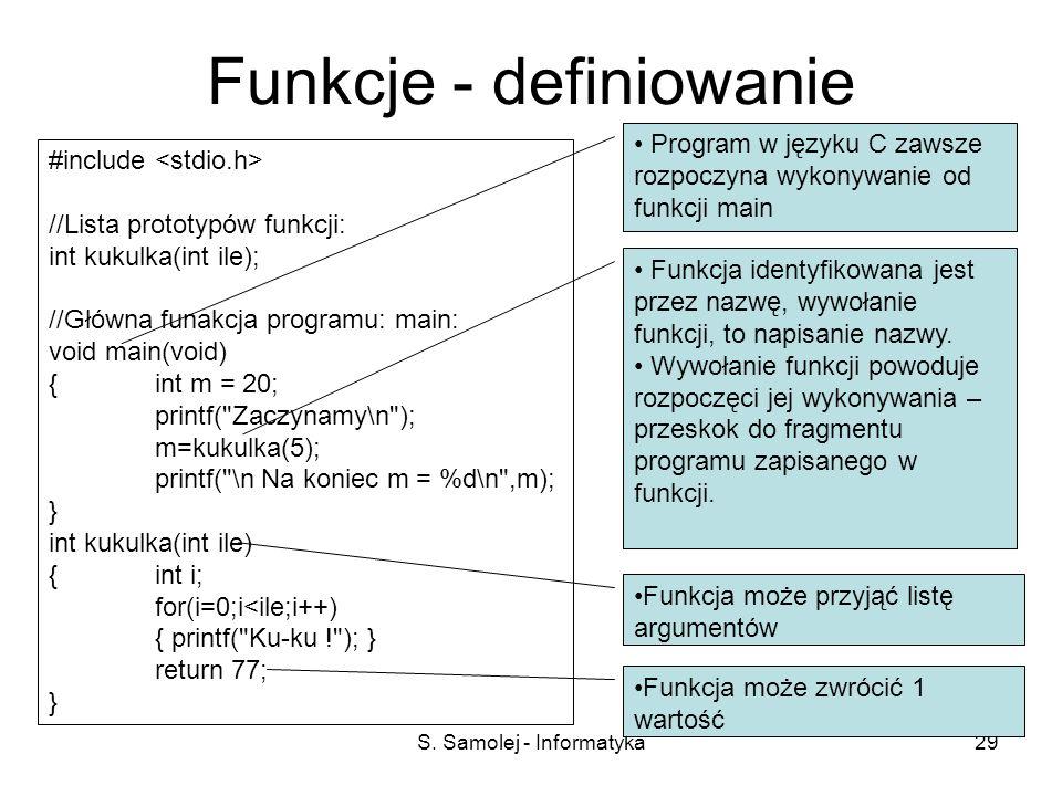 Funkcje - definiowanie
