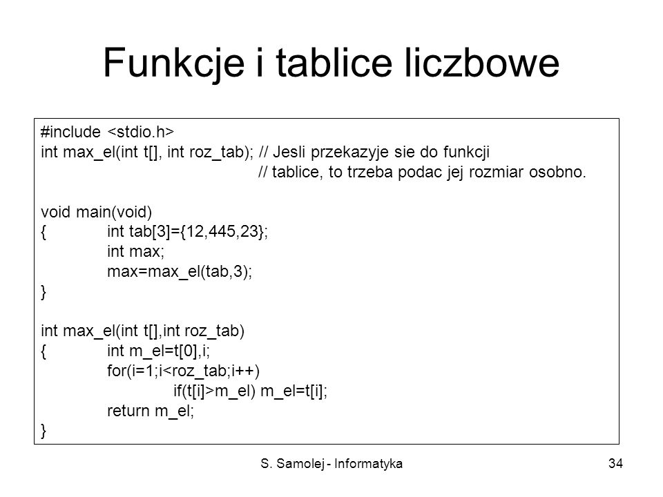 Funkcje i tablice liczbowe