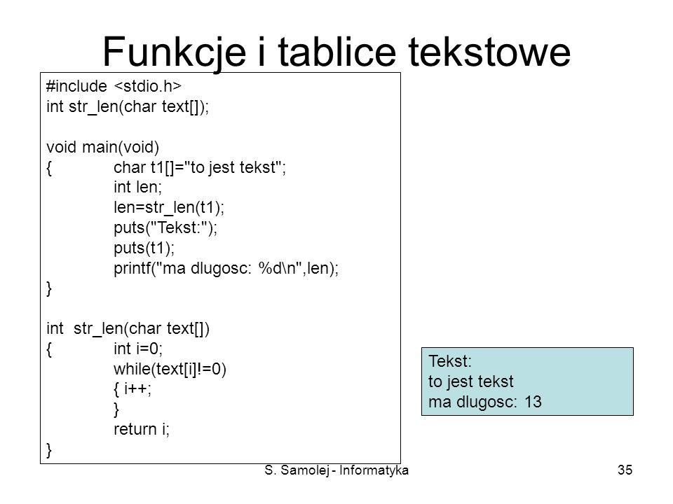 Funkcje i tablice tekstowe