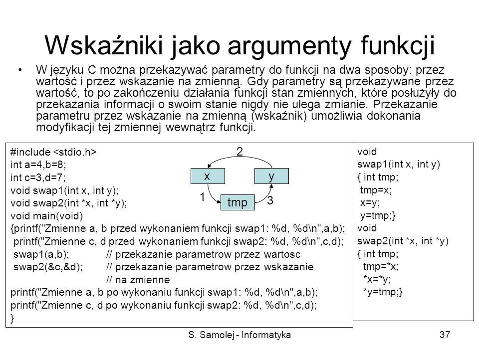 Wskaźniki jako argumenty funkcji
