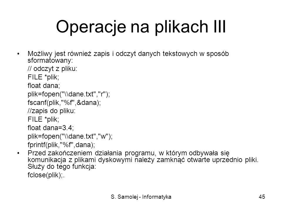 Operacje na plikach III