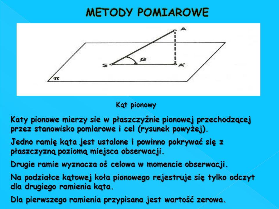 METODY POMIAROWE Kąt pionowy. Katy pionowe mierzy sie w płaszczyźnie pionowej przechodzącej przez stanowisko pomiarowe i cel (rysunek powyżej).