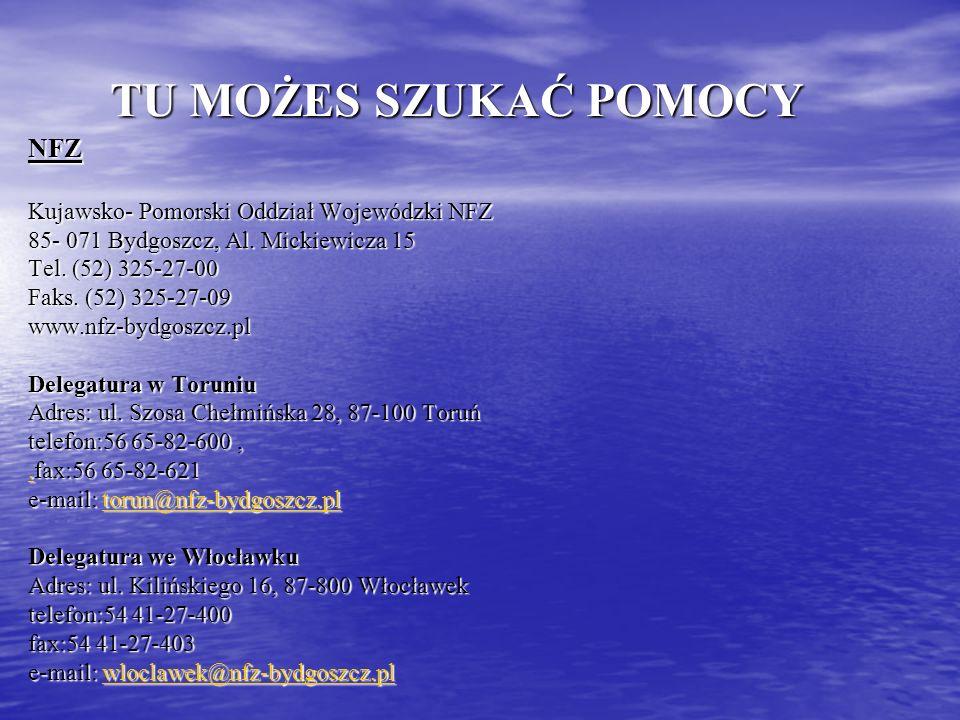 TU MOŻES SZUKAĆ POMOCY NFZ Kujawsko- Pomorski Oddział Wojewódzki NFZ