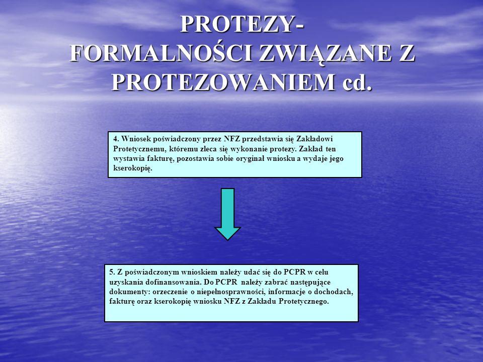 PROTEZY- FORMALNOŚCI ZWIĄZANE Z PROTEZOWANIEM cd.
