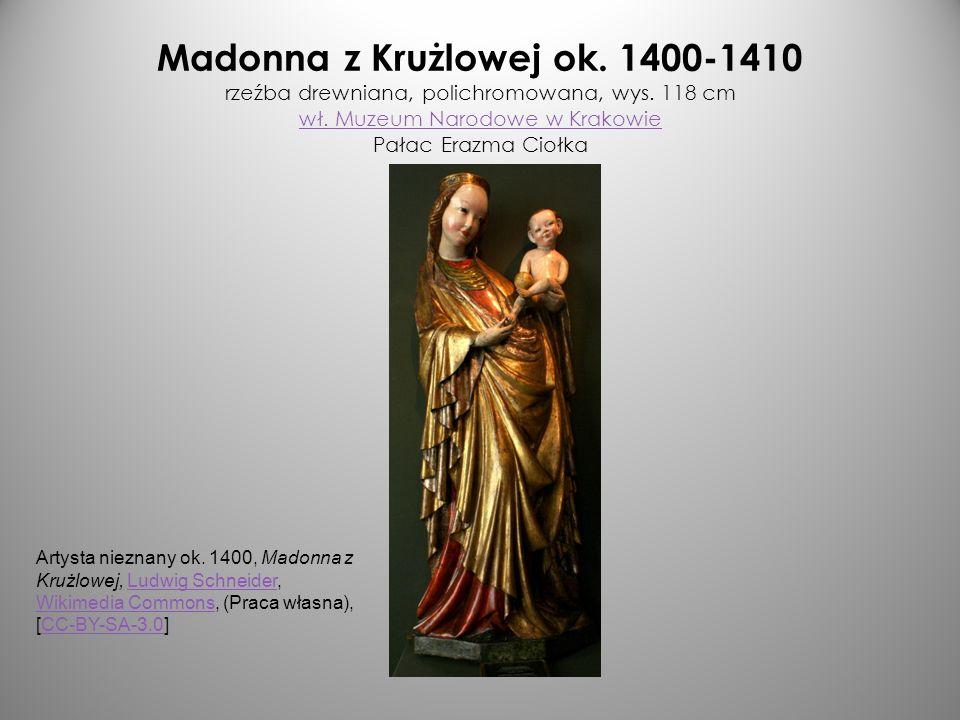 Madonna z Krużlowej ok. 1400-1410 rzeźba drewniana, polichromowana, wys. 118 cm wł. Muzeum Narodowe w Krakowie Pałac Erazma Ciołka