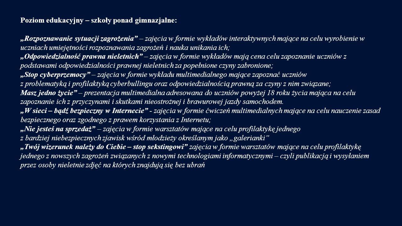 Poziom edukacyjny – szkoły ponad gimnazjalne: