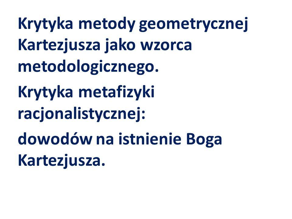 Krytyka metody geometrycznej Kartezjusza jako wzorca metodologicznego