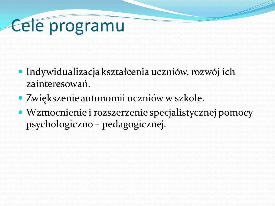 Cele programu Indywidualizacja kształcenia uczniów, rozwój ich zainteresowań. Zwiększenie autonomii uczniów w szkole.