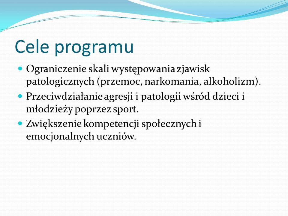 Cele programu Ograniczenie skali występowania zjawisk patologicznych (przemoc, narkomania, alkoholizm).