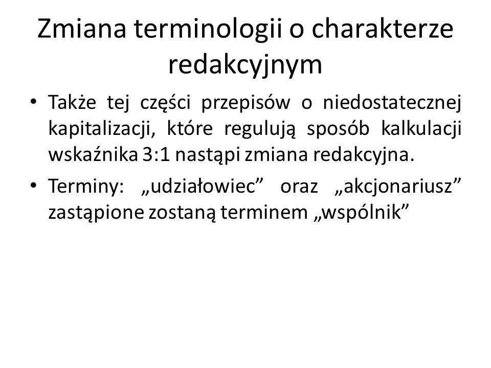 Zmiana terminologii o charakterze redakcyjnym