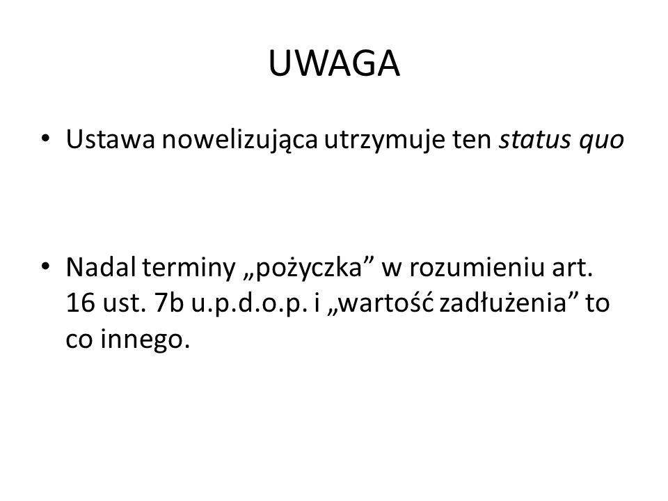 UWAGA Ustawa nowelizująca utrzymuje ten status quo