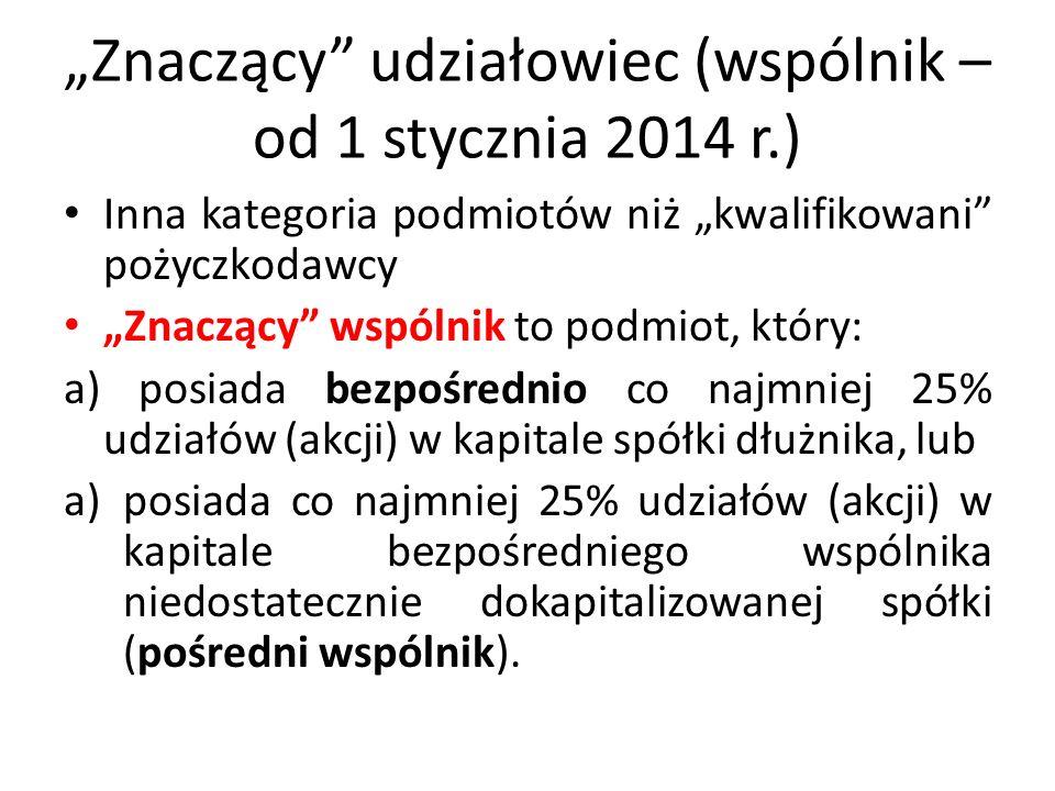 """""""Znaczący udziałowiec (wspólnik – od 1 stycznia 2014 r.)"""