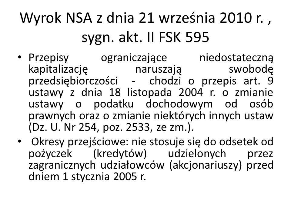 Wyrok NSA z dnia 21 września 2010 r. , sygn. akt. II FSK 595