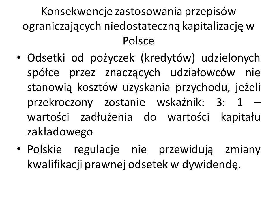 Konsekwencje zastosowania przepisów ograniczających niedostateczną kapitalizację w Polsce