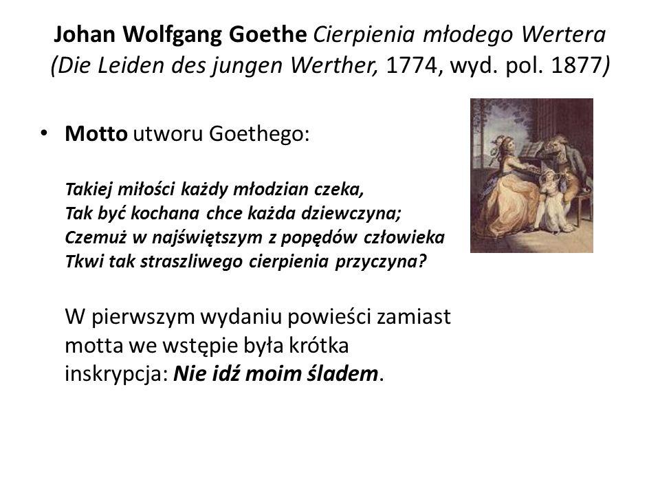 Johan Wolfgang Goethe Cierpienia młodego Wertera (Die Leiden des jungen Werther, 1774, wyd. pol. 1877)