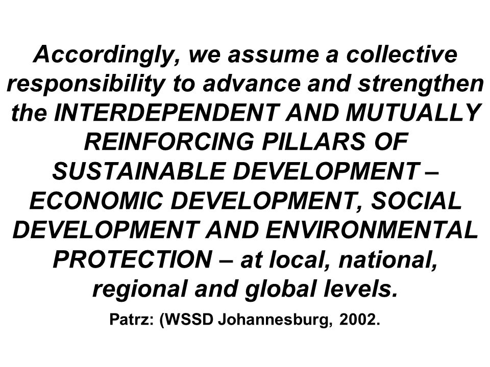 Accordingly, we assume a collective responsibility to advance and strengthen the INTERDEPENDENT AND MUTUALLY REINFORCING PILLARS OF SUSTAINABLE DEVELOPMENT – ECONOMIC DEVELOPMENT, SOCIAL DEVELOPMENT AND ENVIRONMENTAL PROTECTION – at local, national, regional and global levels.