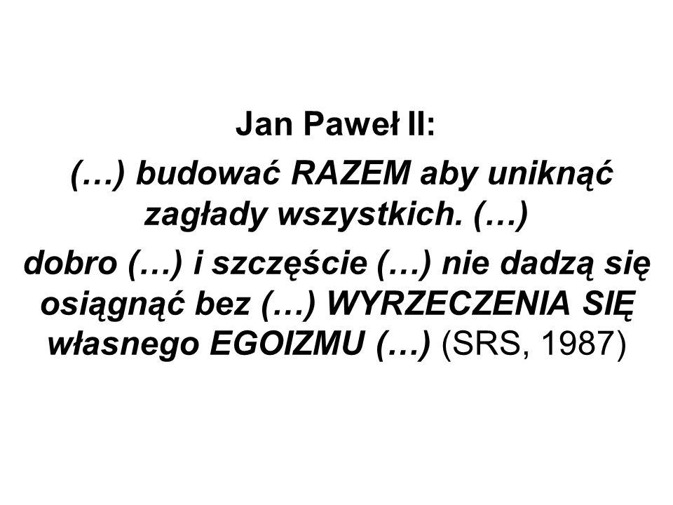 Jan Paweł II: (…) budować RAZEM aby uniknąć zagłady wszystkich