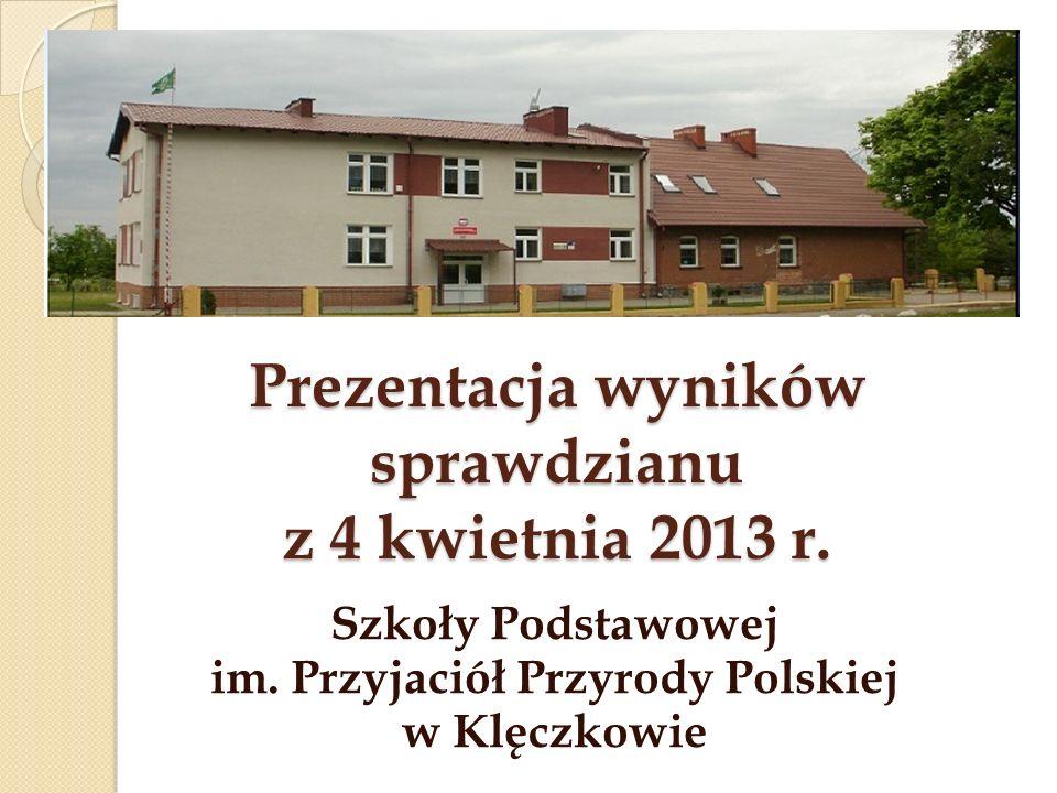 Prezentacja wyników sprawdzianu z 4 kwietnia 2013 r.