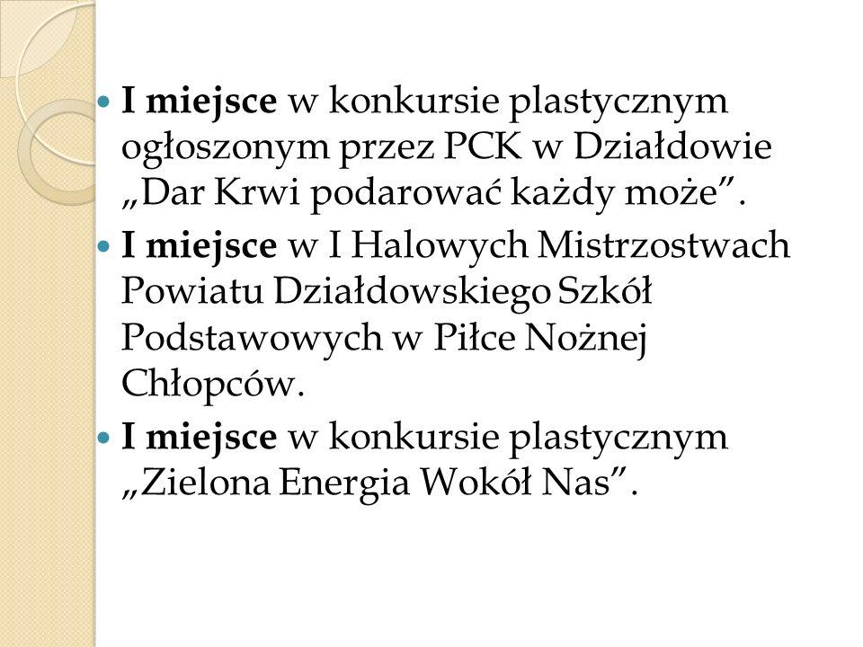 """I miejsce w konkursie plastycznym ogłoszonym przez PCK w Działdowie """"Dar Krwi podarować każdy może ."""