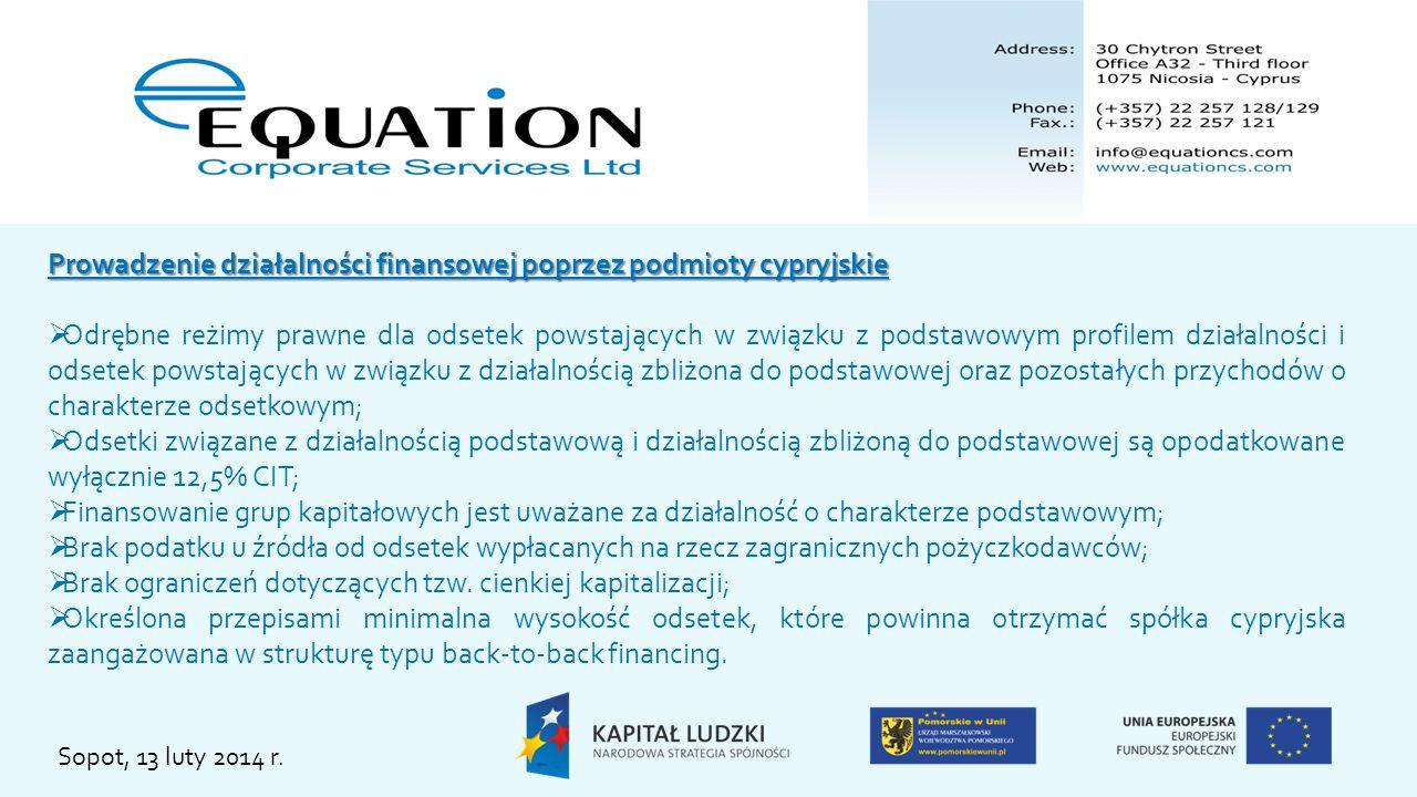 Prowadzenie działalności finansowej poprzez podmioty cypryjskie