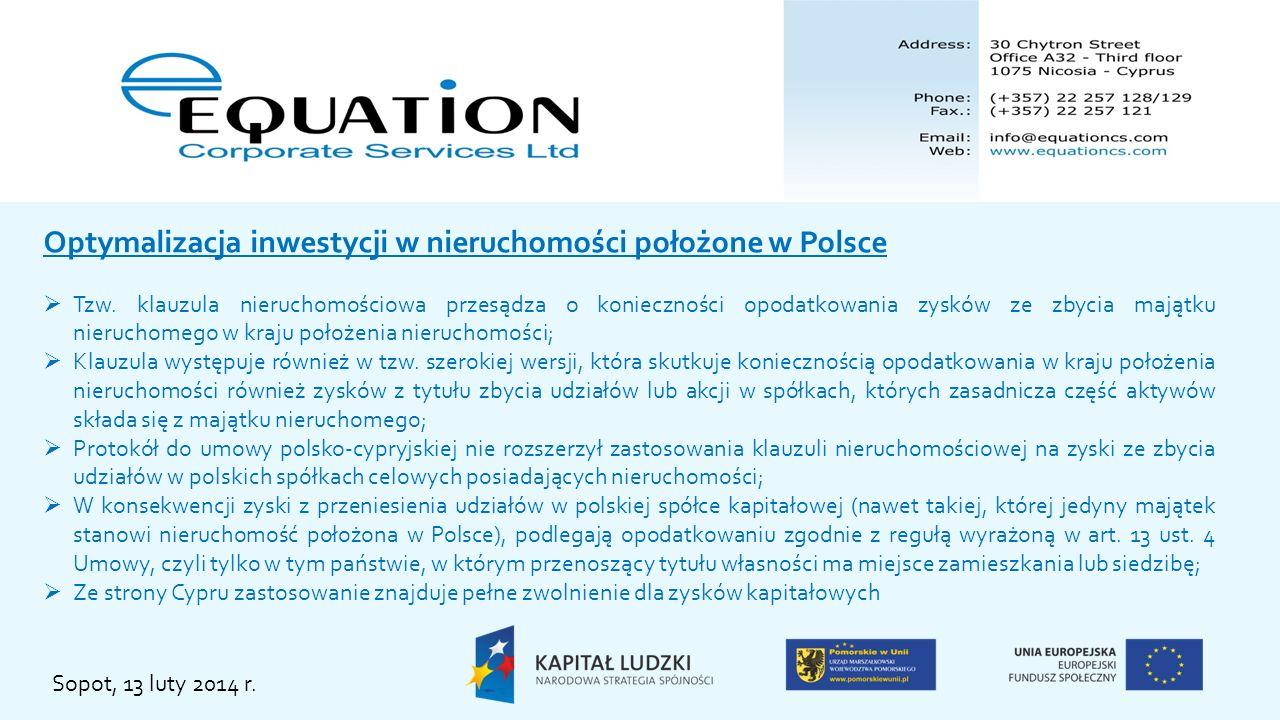 Optymalizacja inwestycji w nieruchomości położone w Polsce