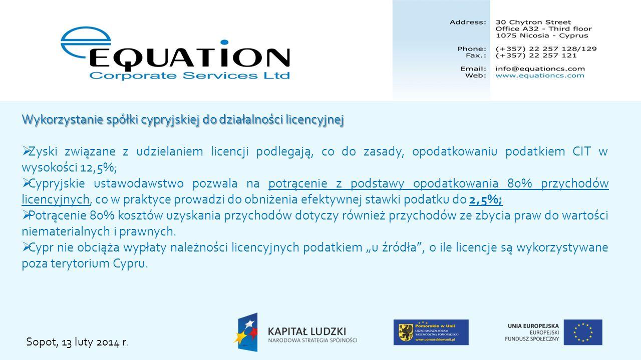 Wykorzystanie spółki cypryjskiej do działalności licencyjnej