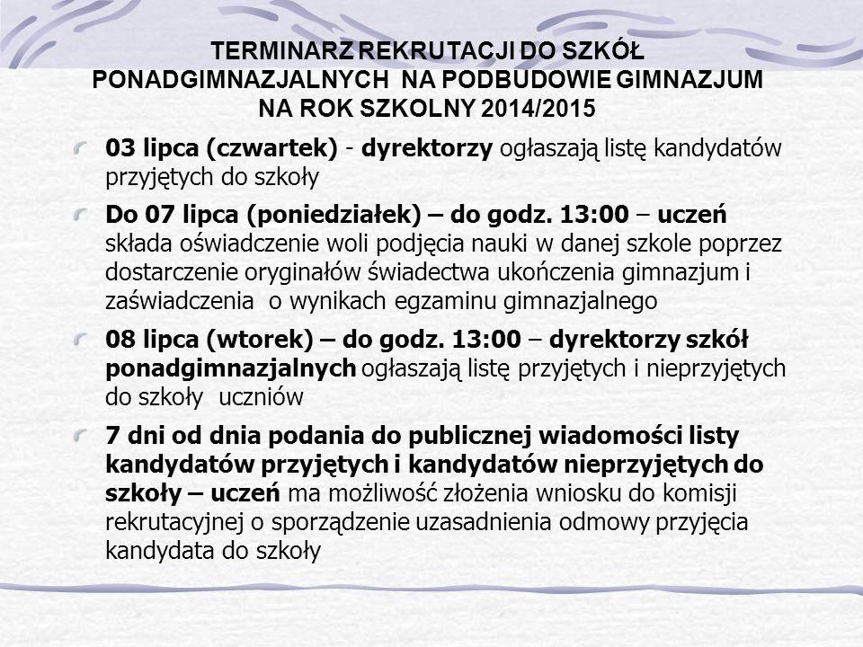 TERMINARZ REKRUTACJI DO SZKÓŁ PONADGIMNAZJALNYCH NA PODBUDOWIE GIMNAZJUM NA ROK SZKOLNY 2014/2015