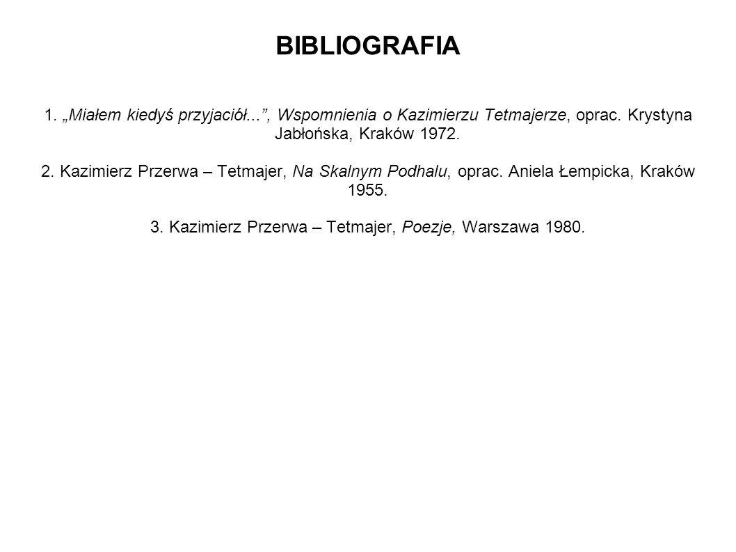 """BIBLIOGRAFIA 1. """"Miałem kiedyś przyjaciół"""