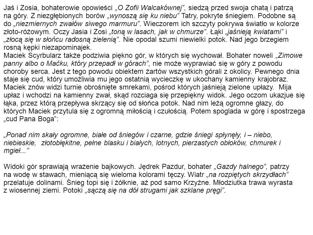 """Jaś i Zosia, bohaterowie opowieści """"O Zofii Walcakównej , siedzą przed swoja chatą i patrzą"""