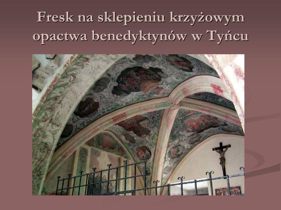 Fresk na sklepieniu krzyżowym opactwa benedyktynów w Tyńcu