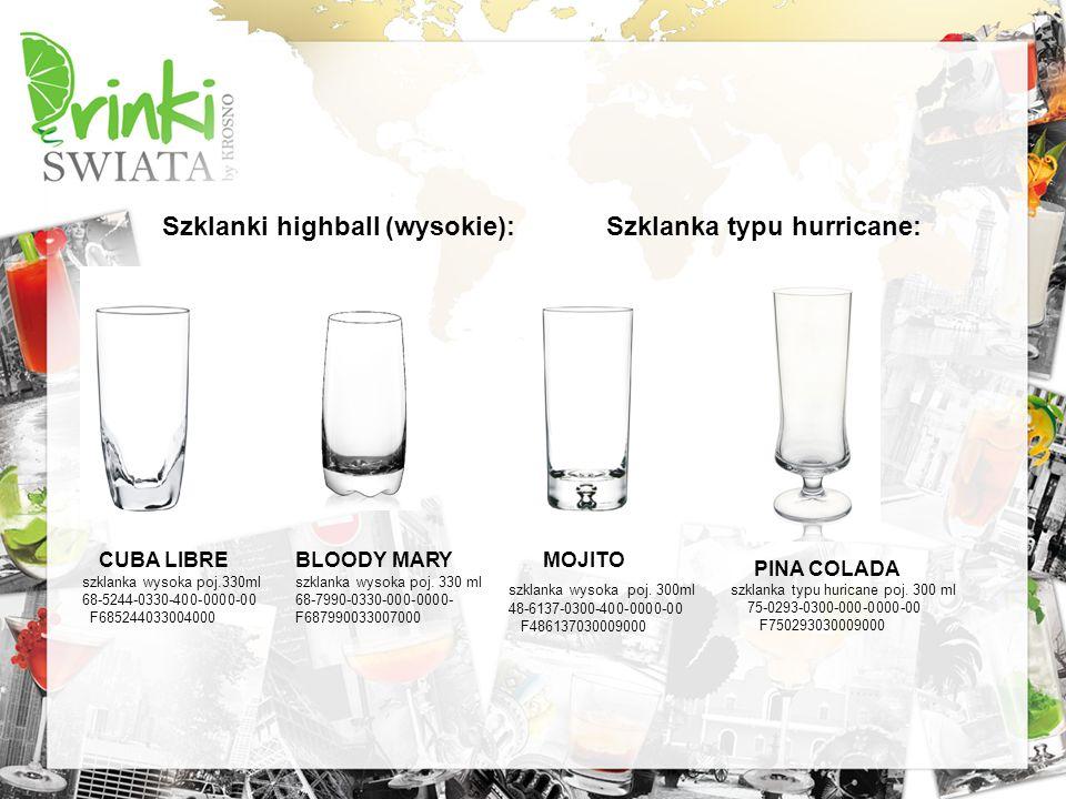 Szklanki highball (wysokie): Szklanka typu hurricane: