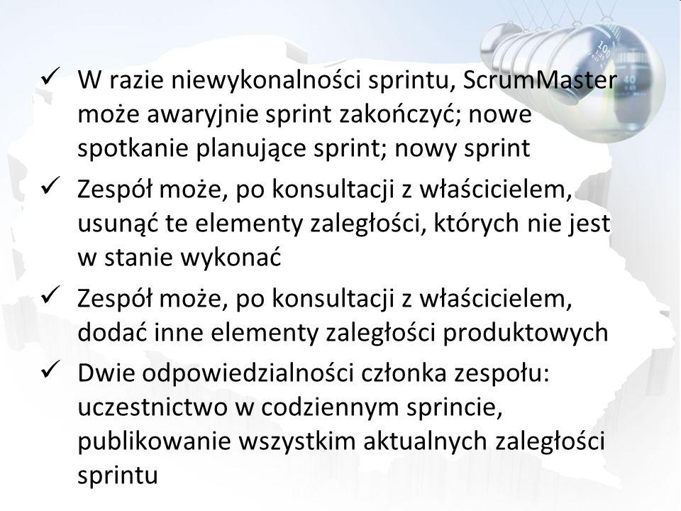 W razie niewykonalności sprintu, ScrumMaster może awaryjnie sprint zakończyć; nowe spotkanie planujące sprint; nowy sprint